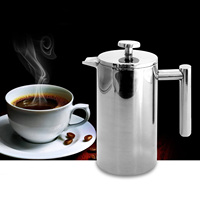 Behogar 1000ml 34oz Double Wall Stainless Steel Insulated Coffee Teapot French Coffe Press Maker Pot w/Filter for Home Kitchen