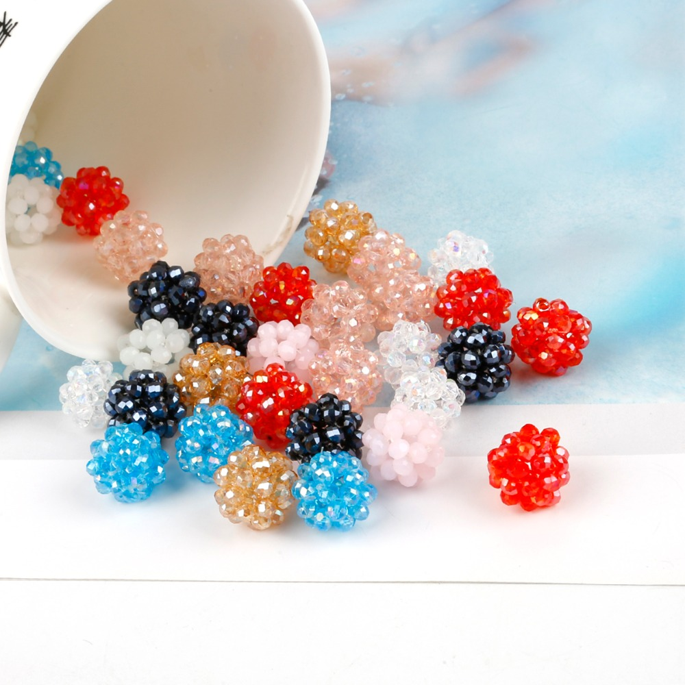 (Wholesale) beads 6pcs Fashion Faceted Round Crystal Glass Quartz 15mm Loose Spacer Beads For Jewelry Making & DIY Craft