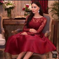 2016 new design red satin lace short prom dress tea length long sleeve formal prom gowns sexy cheap prom dresses hot sale