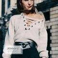 Venta caliente Pullover Mujeres Suéter de Cuello Redondo Completo Con La Nueva Estrella Pelo Correas de Manga Larga Uña de caballo del Collar Suéter de Lana Femenina