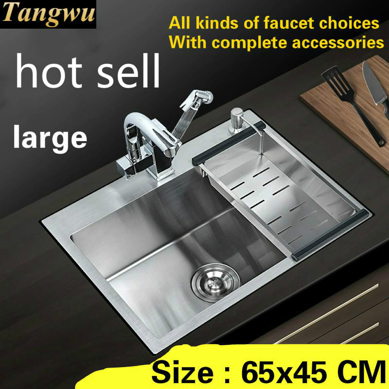 Free Shipping Large Kitchen Sink Durable 304 Stainless Steel Hand Made Single Slot Hot Sell 650x450 MM