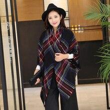 Дизайн большой плед размер Модный печатный рисунок женский шарф теплый акриловый длинный толстый Дамский платок хиджаб зимний женский шарф