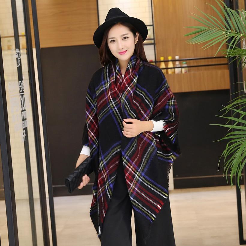 New Design Big Plaid Size Fashion Printed Women Scarf Warm Cotton Long Thick Ladies Shawls Hijab Winter Wrap Female Scarves