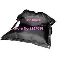 Siyah Fexible fasulye torbası sandalye, buggle up bahçe kanepe mobilya, İki toka kemerler oturma odası koltuk