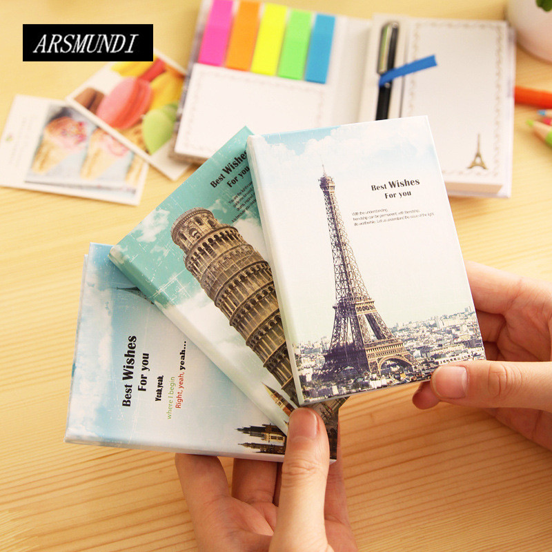 Kawaii Vintage Building Memo Pad Sticky Notes Post It Cute School Office Papeleria Planner Stickers School Supplies Whit Pen