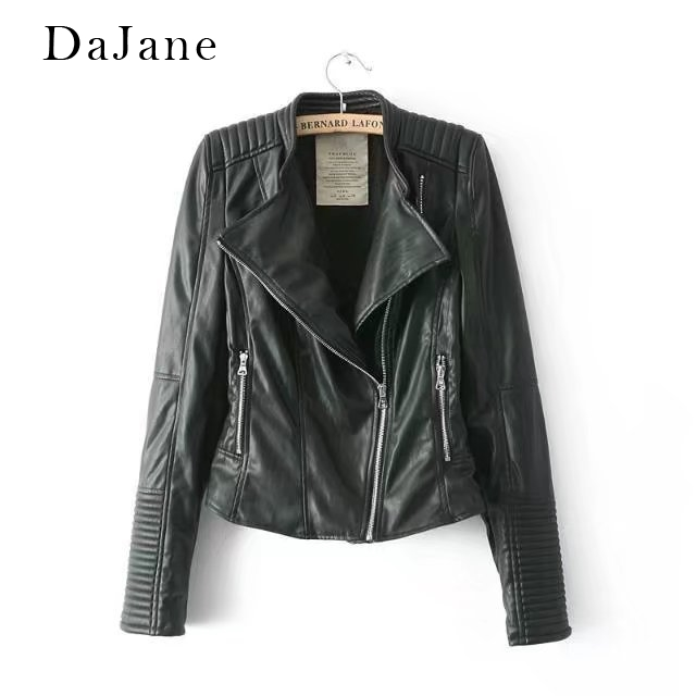 Women's Autumn New long-sleeved Stand Collar Zipper Short   Leather   Jacket Jacket Coat   Leather   Jacket Women