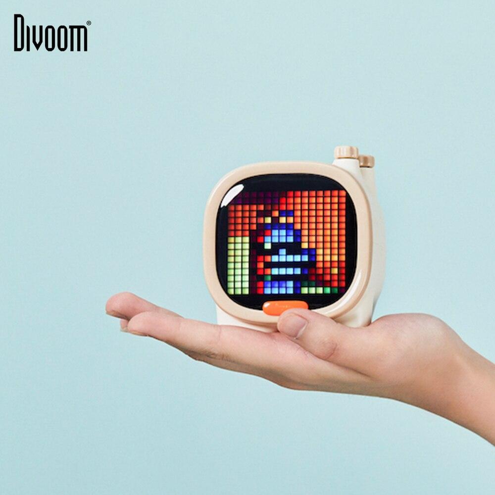 MINI haut-parleur portatif sans fil de Bluetooth d'éléphant d'art de Pixel de Divoom Timoo écran LED réveil avec l'application pour IOS Android