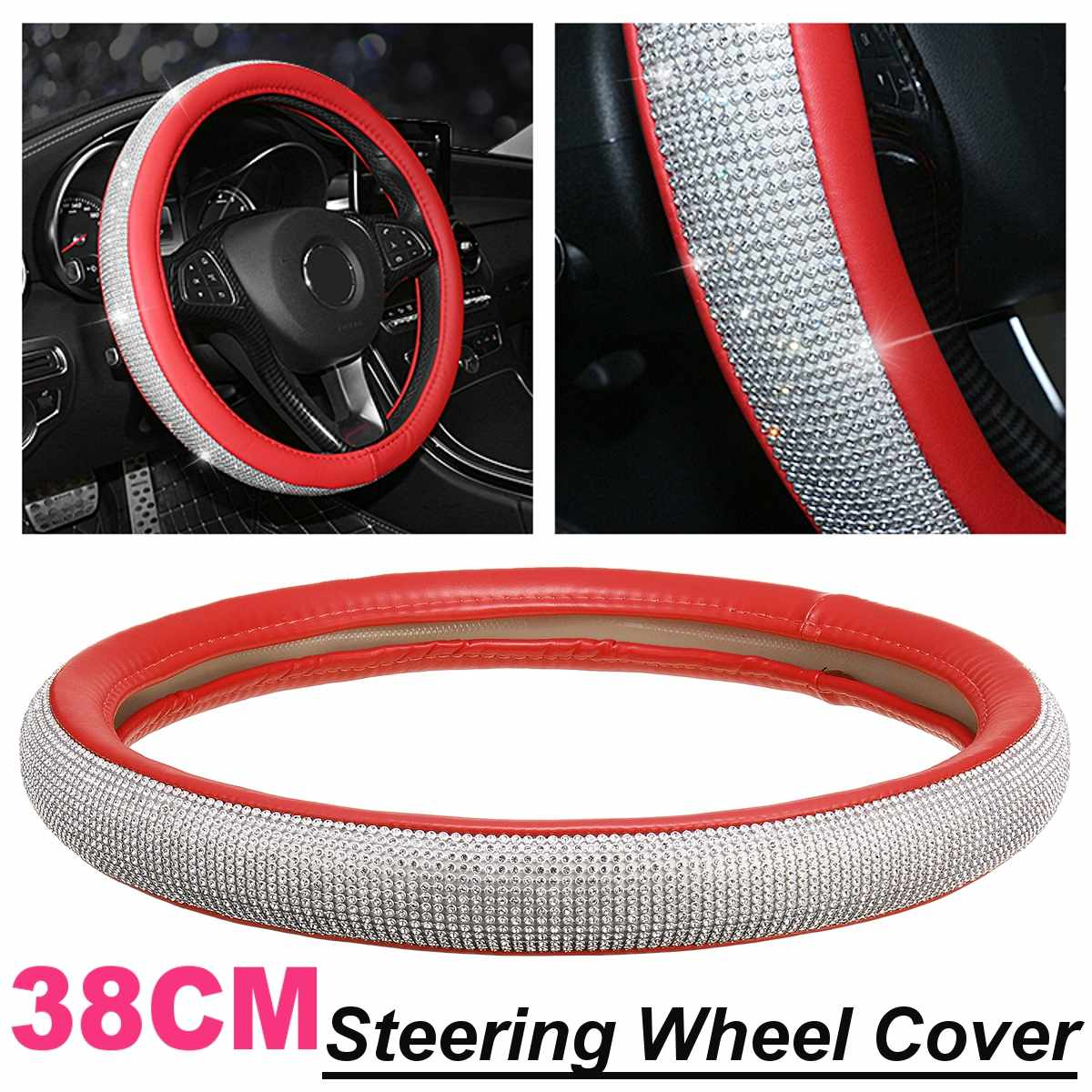 15/'/' 38cm Red Car Steering Wheel Cover With Red Crystal Rhinestone PU Leather