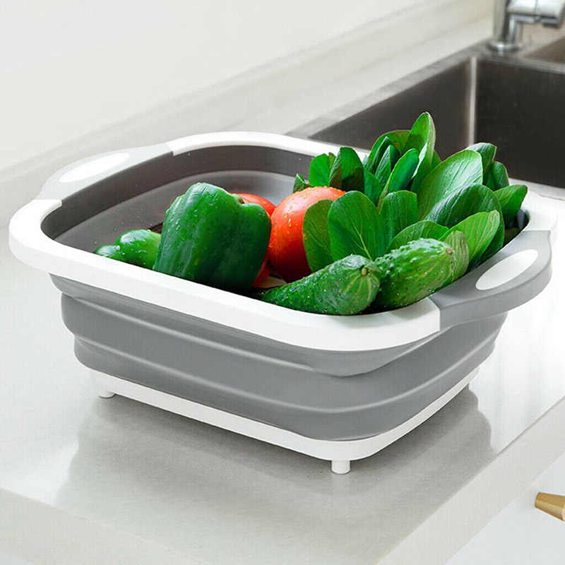 4 in 1 Multi-Board Dayvion No More Tools Drain Basket Foldable for Kitchen Fruit Vegetables Lavandino pieghevole H99F