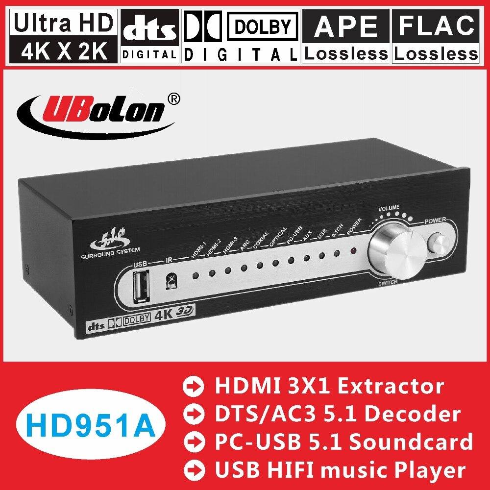 HDMI DTS 5.1 Decodificador De Áudio Converter Engrenagem AC3 DAC 4 k * k 2 HDMI Extrator Splitter Switcher Digital SPDIF USB de áudio Home Theater