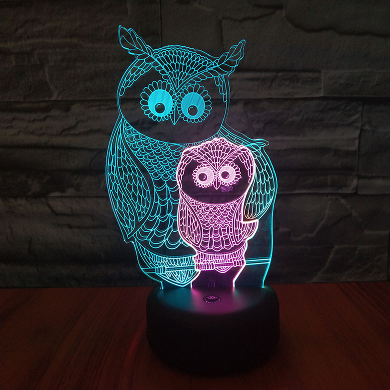 Animal Owl Night Lamp 3d Light Fixture Room Decoration Multicolor Bedside Lamp Baby Luminary Neon Children's Led Night Light Owl