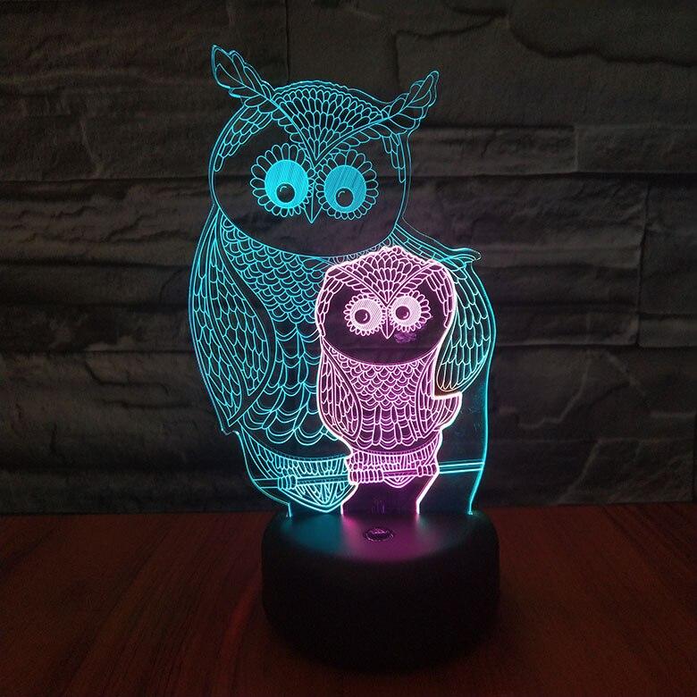 Animal Owl Night Lamp 3d Light Fixture Room Decoration Multicolor Bedside Lamp Baby Luminary Neon Children's Led Night Light Owl