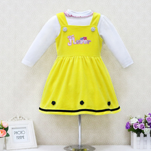 Little Q baby princess elegant dresses for 0-3 year old girls Children 2 pcs/set 100% cotton long sleeve blouse+velour dress