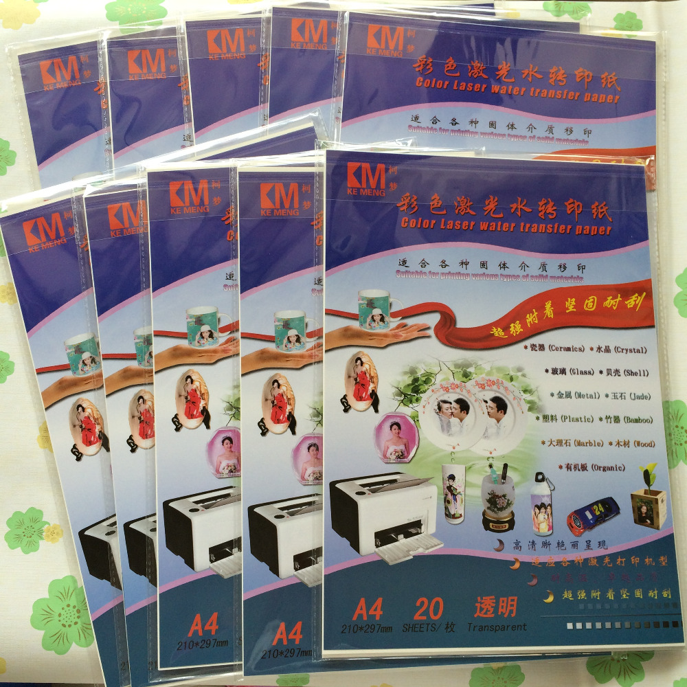 100 sheets/lot 투명/투명 색상, 운송 요금 없음, a4 크기, 컬러 레이저 물 전송 인쇄, 워터 슬라이드 데칼 용지-에서페인팅 페이퍼부터 사무실 & 학교 용품 의  그룹 1