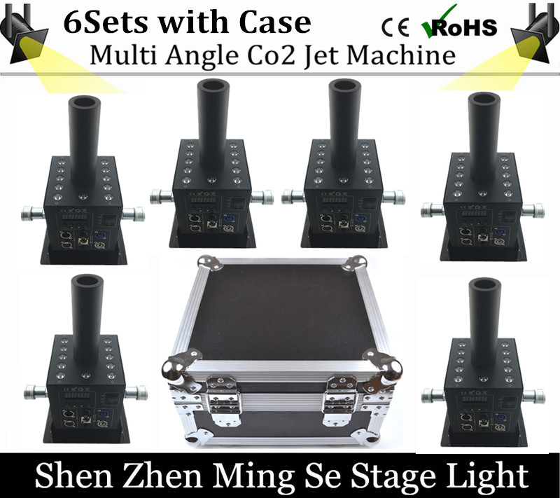 6pcs 12x3w Led Multi Angle CO2 Jet DMX Adjustable Powercon Stage CO2 Device High Pressure Hose  DJ CO2 Cannon with flight case