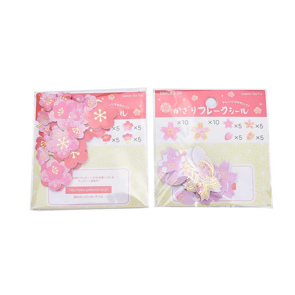 40 unids/set flores de ciruelo flores de cerezo pegatinas de diario DIY Scrapbooking papel boda cuenta de mano Notebook Decoración