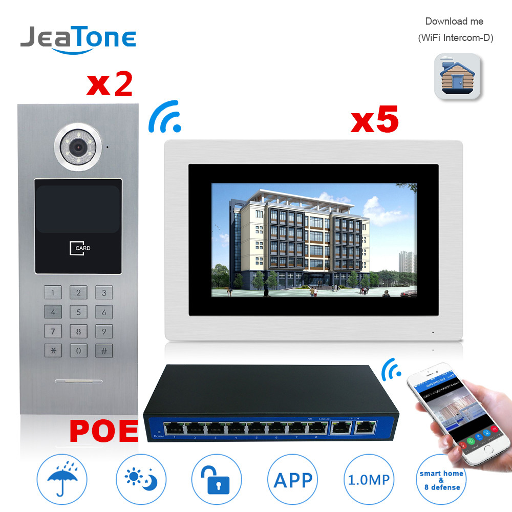 7'' Touch Screen WIFI IP Video Door Phone Intercom +POE Switch 2 To 5 Building Access Control System Support Password/IC Card