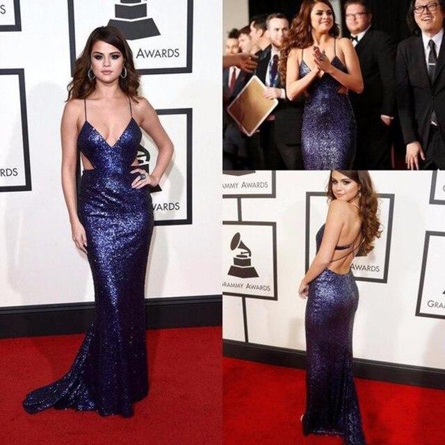 b43a33f13aa2 Hot Sale Selena Gomez Dresses Long Celebrity Dress V Neck Purple Sequin Red  Carpet Dresses Backless