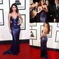 Venda quente Vestidos de Selena Gomez Longo Celebrity Dress V Neck Roxo Lantejoula Vestidos No Tapete Vermelho Backless Vestidos de Noite Formais 2017