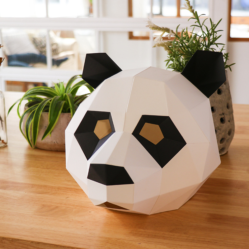 Panda head Paper DIY material manual creative Head Mask Party Masquerade show props lovely tide hand made lovely Animal mask