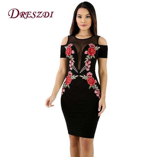 f51929a7937d4 Dreszdi 2017 seksi soğuk omuz çiçek nakış Mini Club elbise kadın siyah Bodycon  elbiseler yaz parti