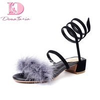 DoraTasia Brand New Kid Suede Square Med Heels Feather Top Quality Shoes Woman Casual Summer Sandals