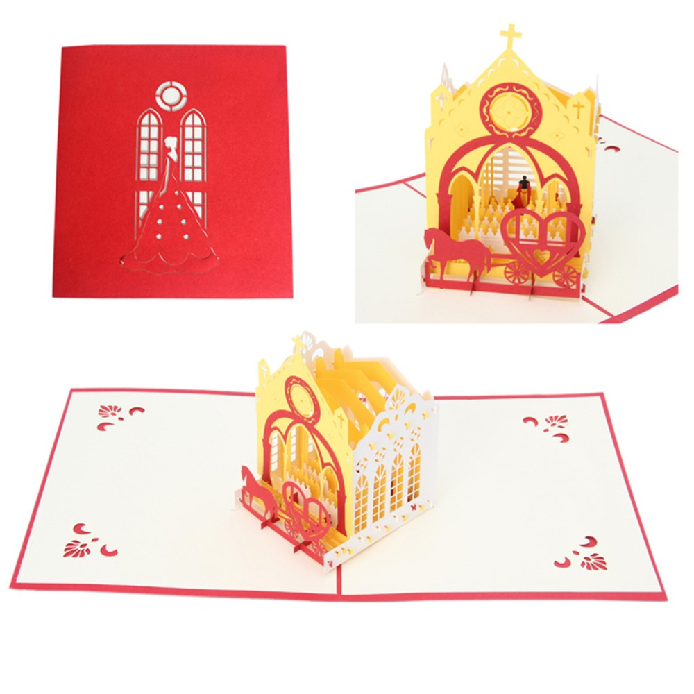 3D Wedding Invitations Church Greeting Card Pop Up Paper Cut ...