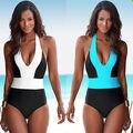2016 de Una Pieza Atractivo del traje de Baño Del Vendaje De Las Mujeres Sólido Blanco y hombro del Azul Uno Recortable Monokini traje de Baño Traje de Baño bodysuit