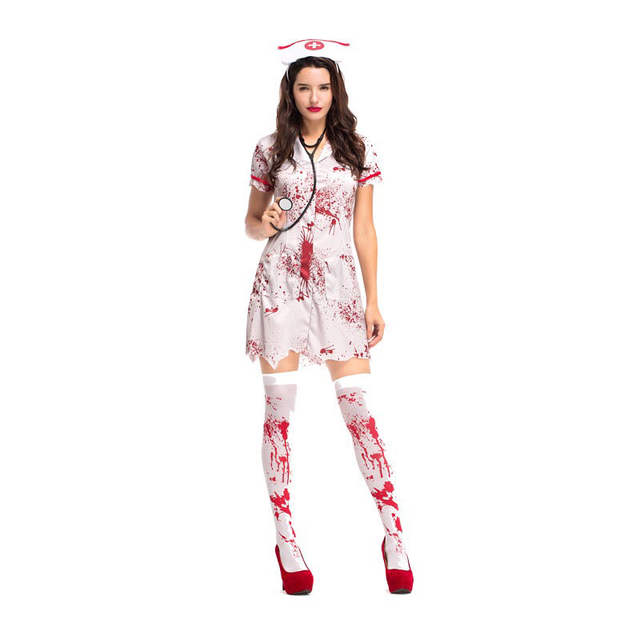 Halloween Zombie Costumes For Girls.Us 8 58 25 Off Teen Girls Women Halloween Horror Nurse Zombie Costume Scary Bloody White Dress Uniform Fancy Clothing Outfit For Female On