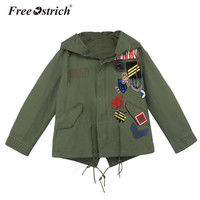 Free Ostrich jacket Women's 2017 Autumn Winter Embroidery Hooded Streetwear Motorcycle Military Style Feminina Coat S25