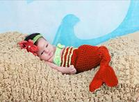 아름다운 인어 신생아 아기 소녀 사진 사진 소품 유아 수제 의상 크로 셰 뜨개질 니트 코쿤 세트 니트 아기 의상