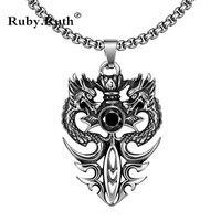Европейский двойной дракон панк-стиль Нержавеющая сталь SsangYong черный жемчуг Цепочки и ожерелья мужские ювелирные изделия оптом