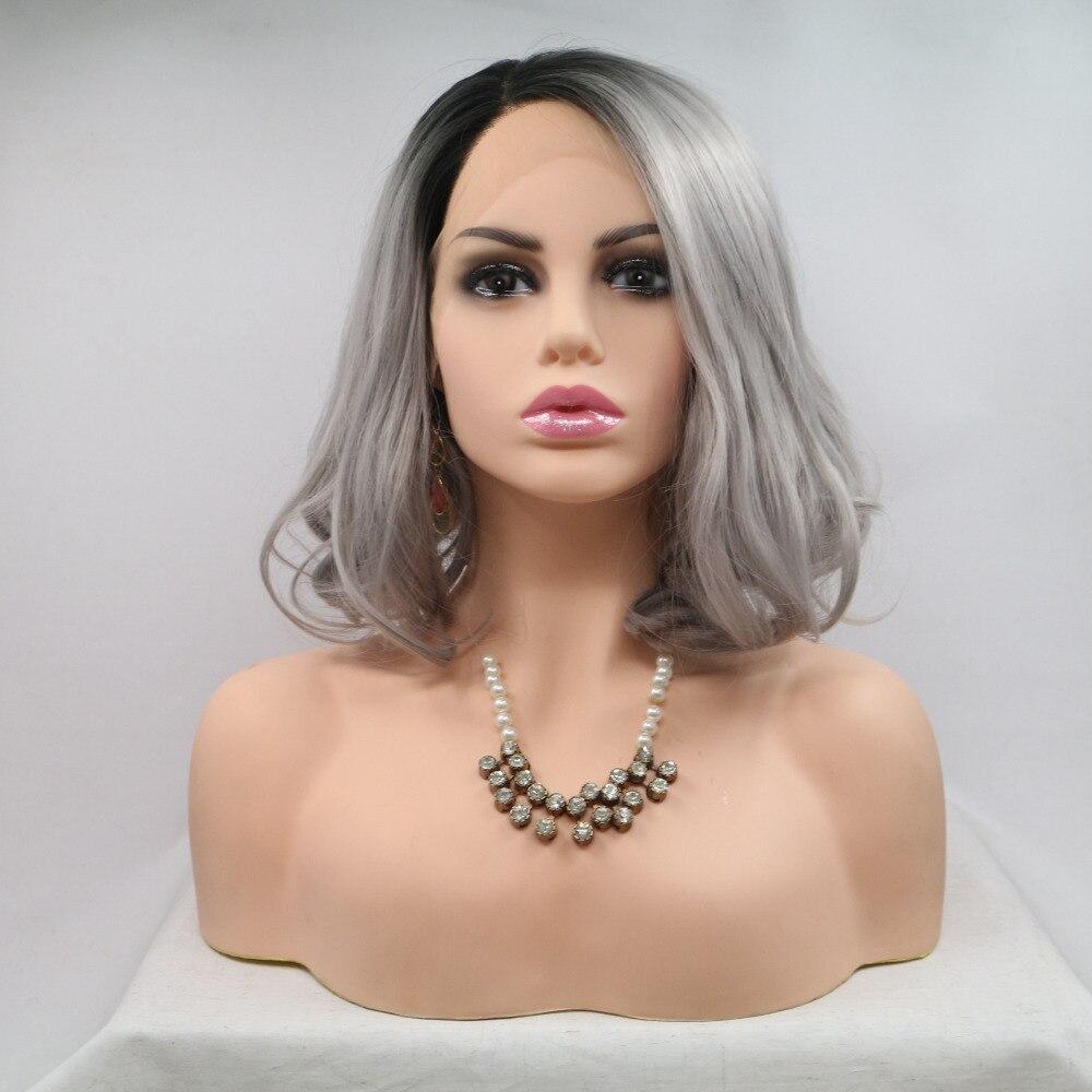Marquesha Realistic Looking Bob Cut Heat Resistant Fiber Ombre Grey Synthetic Lace Front Short Wigs For Black Women
