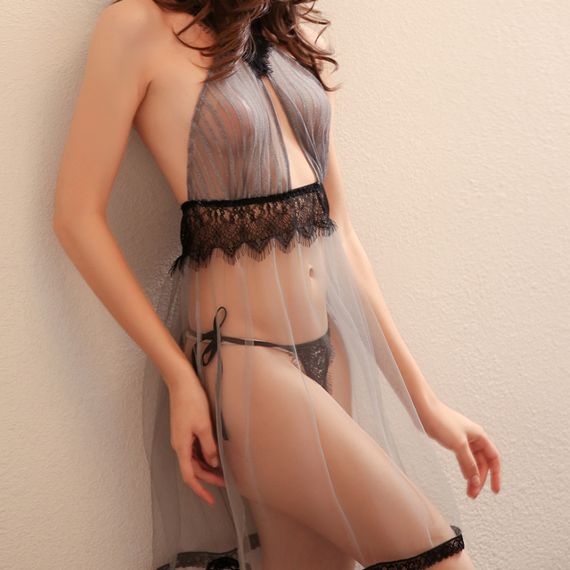 High Quality Beauty Back Sexy Seduction Nightdress Summer Tulle Sheer Lace Nightwear Nighties for Women Nightgowns