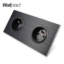 Адррес Wallpad L6 черный Алюминий двойной французский Стену Электрической Мощность круглый разъем Атлас из металла Матовая рамка, 172*86 мм