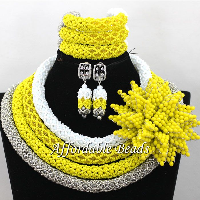 Four Rows Nigeria Beads Lovely Bridal Jewelry Sets Handmade Style Free Shipping NCD188Four Rows Nigeria Beads Lovely Bridal Jewelry Sets Handmade Style Free Shipping NCD188