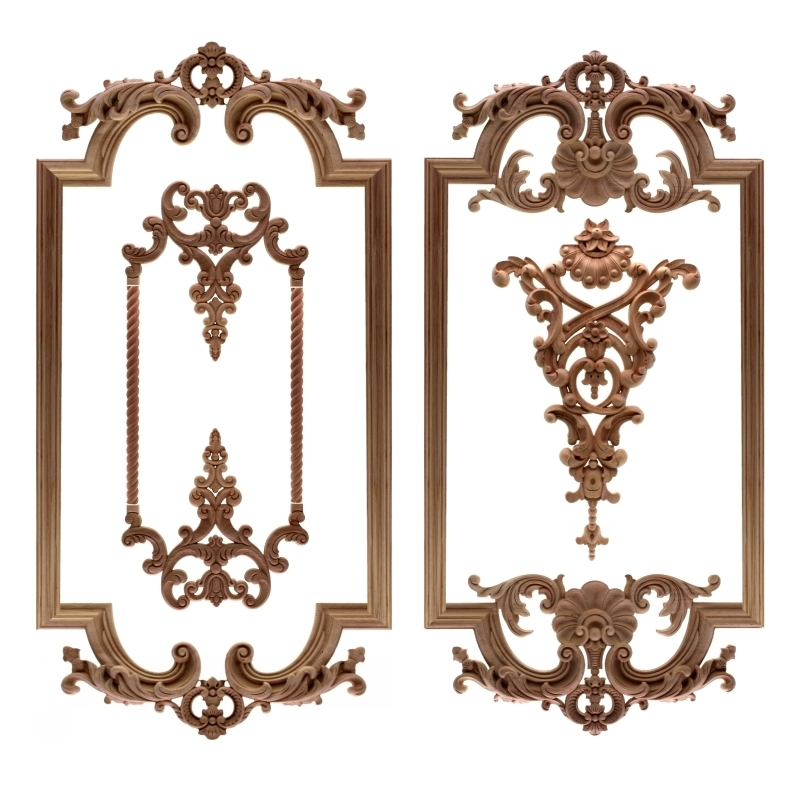 RUNBAZEF The New Listing Wood Carving Angle Flower European Style Lattice Background Wall Applique Home Decoration Accessories