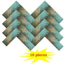 Wholesale 16 Pieces Peel and Stick Wall Tiles Backsplashes Aluminum Alloy Retro Copper Coffee Decor Stickers 10X30CM