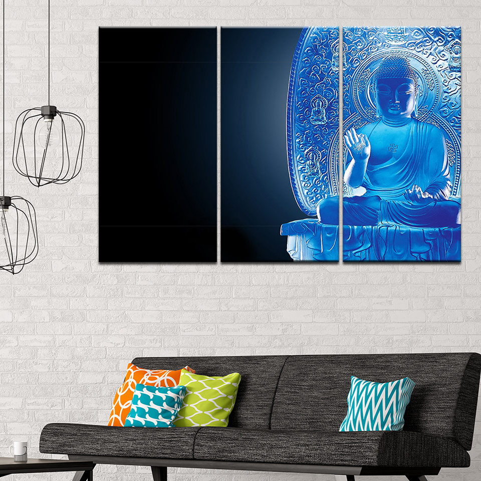 Wall Art Pictures Home Decor Room Vintage Zen Buddha Poster Framework HD Prints Canvas 3 Pieces Combine Buddha Paintings Modular
