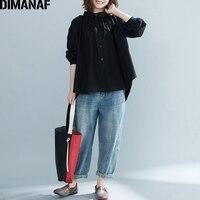 DIMANAF Women Blouse Shirt Plus Size Ladies Tops Linen Long Sleeve Female Clothes Vintage Solid Loose Cardigan Tunic 2018 Autumn