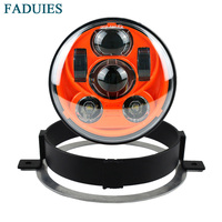 FADUIES For Honda Motorcycle VTX 1800, VTX 1300 5 3/4 LED Orange Headlight Kit with Bracket and Hardware Plug and Play