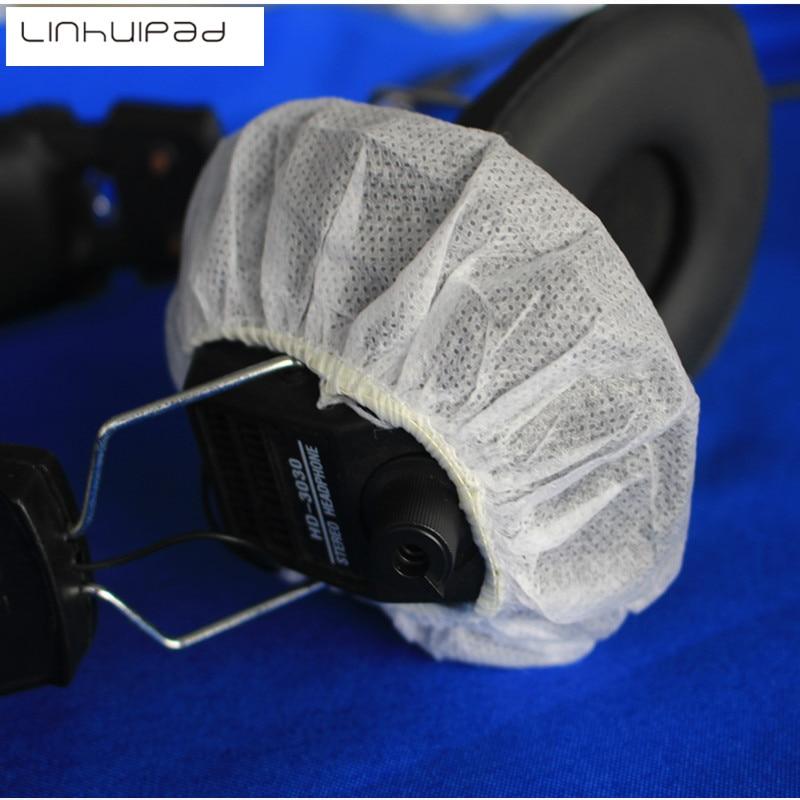 Linhuipad 100 Pacote Sanitário Branco Fone De Ouvido Cobre 12-13 CM Não Tecida Descartável Capa Repalcement Earmuff fone de Ouvido Almofada