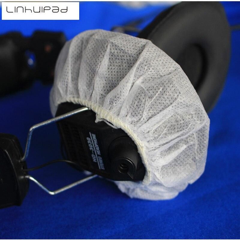 Linhuipad 100 Pack White Sanitary Headphone Covers 12-13CM Disposable Nonwoven Earmuff Cover Repalcement Headset Cushion