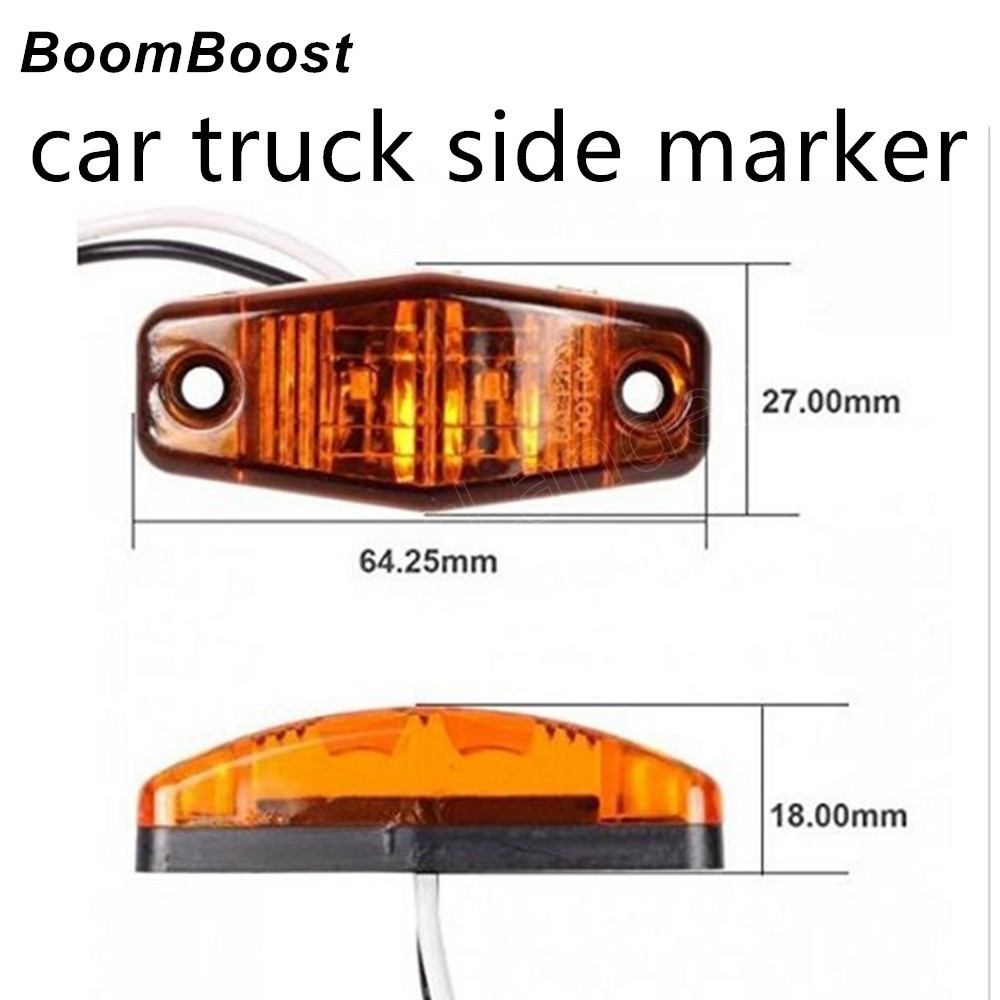 BoomBoost 1 Piece Truck/Car Lights 2LED Side Marker Light Clearance Lamp Car Truck Trailer 3 Colors For Choice image