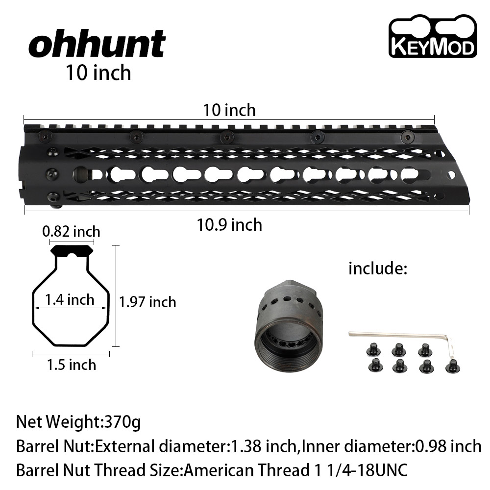 Slim Style <font><b>AR15</b></font> 10 inch Steel <font><b>Free</b></font> <font><b>Float</b></font> Keymod <font><b>Handguard</b></font> Picatinny Rail for Tactical Rifle Mounts with Steel Barrel Nut image