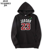 Autumn 2017 New Women Men S Casual Fashion Brand Jordan 23 Print Hedging Hooded Fleece Sweatshirt
