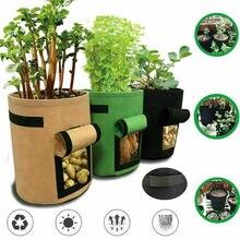 Maceta de tela de 7 galones, bolsa para planta, contenedor de raíces, tomates, patatas, herramientas de bolsa macetas de jardín