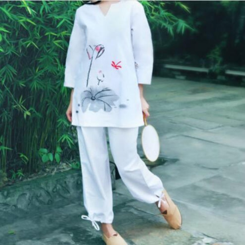 New Tang Style Wing Chun Kung Fu Costume For Women Floral Print Embellished Summer Tai Chi Clothes Sports Sets Female Sportswear свитшот print bar wing chun