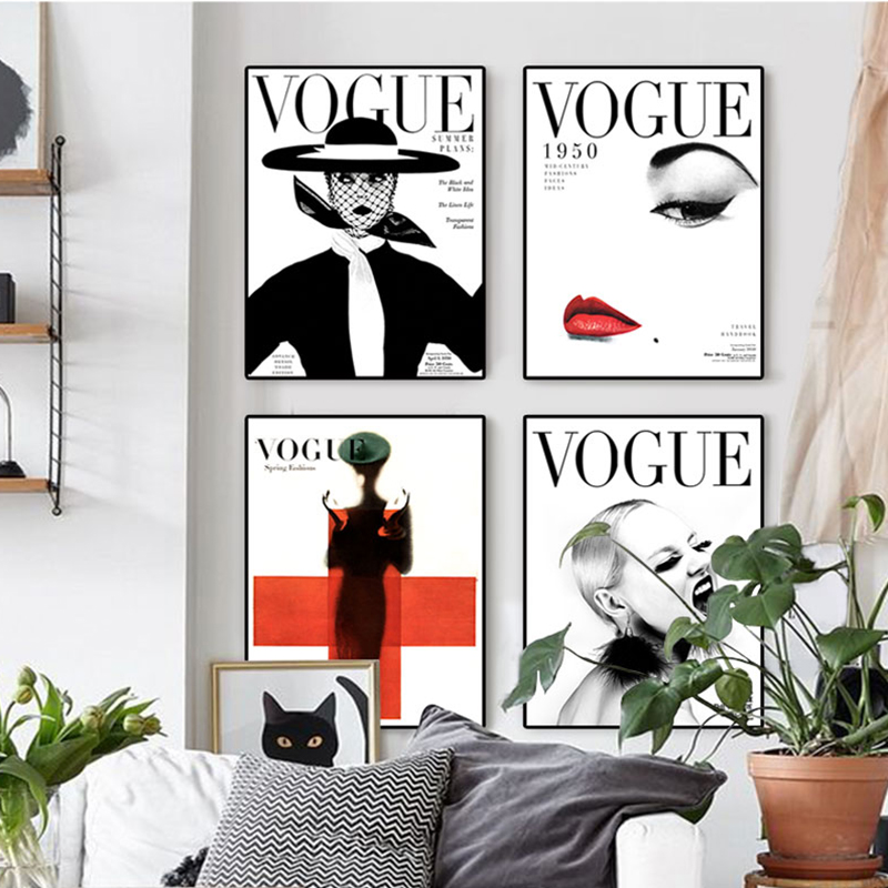 nordic poster modern fashion 4 piece canvas art wall portrait home decor vogue 1950 magazine. Black Bedroom Furniture Sets. Home Design Ideas