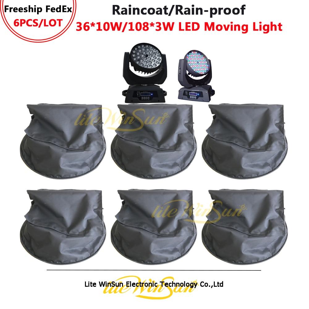Litewinsune 6 шт. дождевик черный Водонепроницаемый прозрачная ткань ПВХ пальто для 36*10 Вт светодиодный мыть перемещение головного света 108*3 Вт светодиодный свет